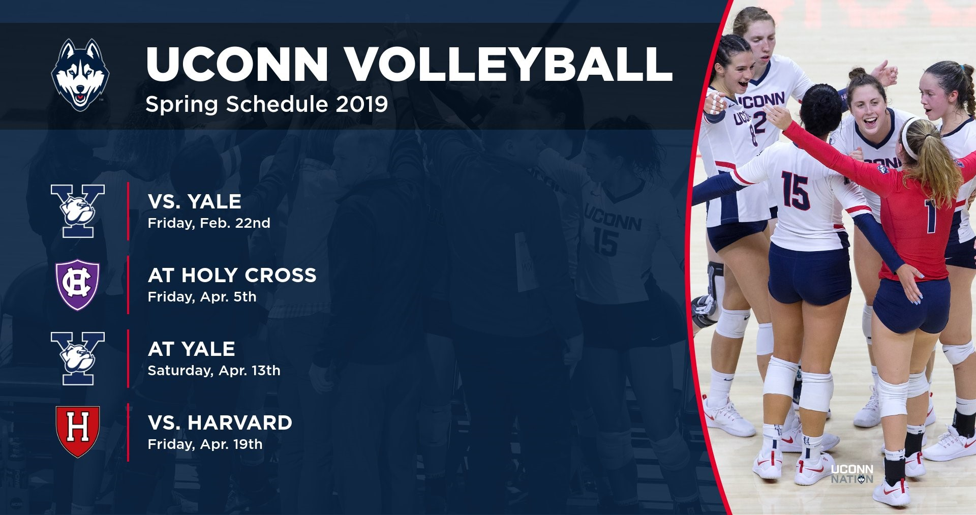 Volleyball Announces Spring Schedule University Of Connecticut Athletics