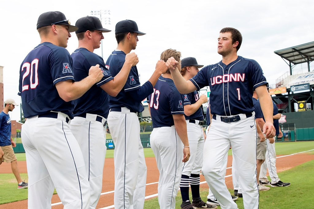 Team members from the UConn baseball team before a game